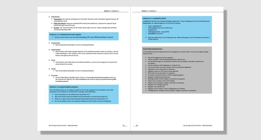 Inhoud studieboek exact online