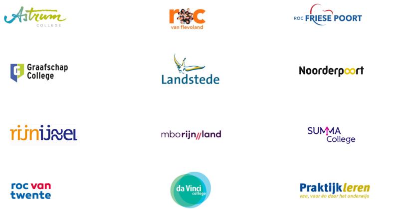 Deelnemende MBO's aan de pilot stichting prakijtkleren en tree9 voor Tichelaar Dagboeken